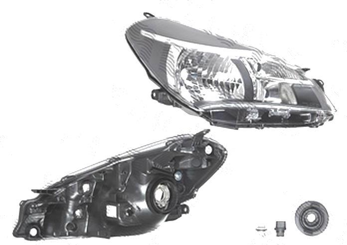 Far Toyota Yaris, 07.2014-, fata, Dreapta, cu daytime running light; H4+W21/5W+WY21W; electric; fara motoras, TYC