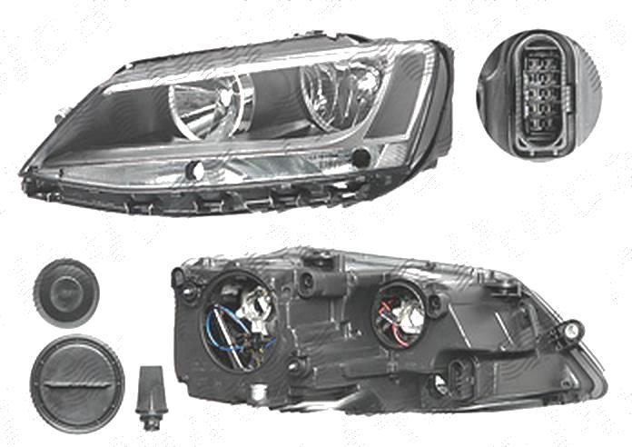 Far Volkswagen Jetta (1b), 07.2010-, fata, Stanga, Tip= Hella; H7+H7+P21W+PY21W; electric; cu motor, DEPO