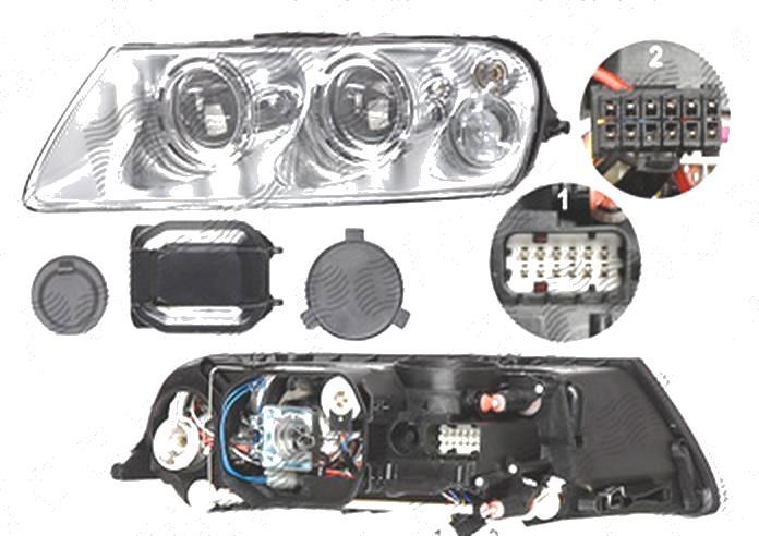 Far Volkswagen Touareg (7l), 10.2002-12.2006, fata, Stanga, xenon; D1S+H7+PY21W+W5W; electric; fara unitate control; fara ballast; cu motor, DEPO
