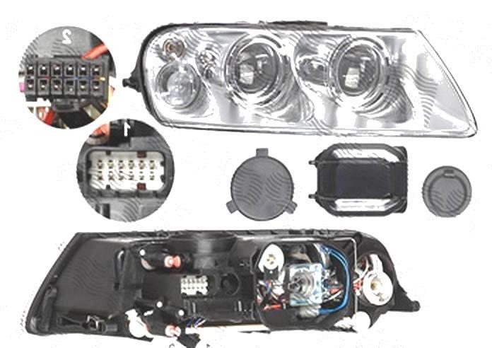 Far Volkswagen Touareg (7l), 10.2002-12.2006, fata, Dreapta, xenon; D1S+H7+PY21W+W5W; electric; fara unitate control; fara ballast; cu motor, DEPO