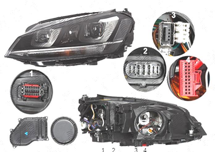 Far Volkswagen Golf 7 (5k), 10.2012-03.2017, fata, Stanga, bi-xenon; cu dynamic cu lumini de curbe; cu LED daytime running light; D3S+H7; electric; fara unitate control; fara ballast; cu motor, DEPO