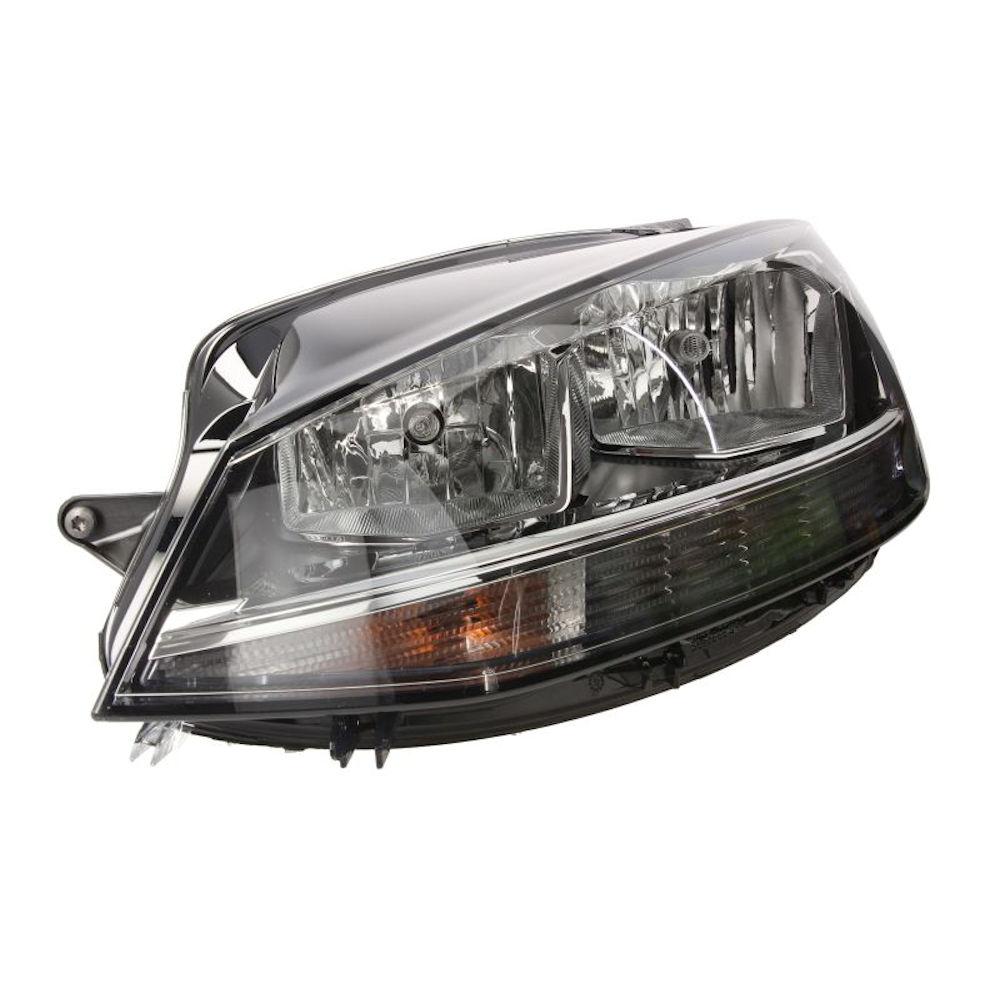 Far VW Golf VII, 03.2017-, partea Stanga, tip bec H7+H9+LED+WY21W, cu motoras, cu becuri, cu luminide zi cu LED, Hella
