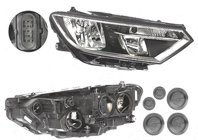 Far Volkswagen Passat (B8), 08.2014-, fata, Dreapta, H7+H9+WY21W; electric; cu motor, DEPO