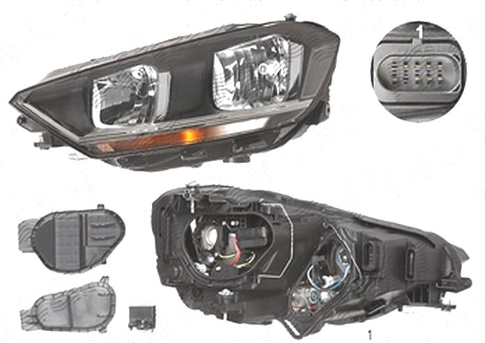 Far Volkswagen Golf Sportsvan, 02.2014-, fata, Stanga, cu daytime running light; H15+H21W+H7; electric; cu motor, DEPO