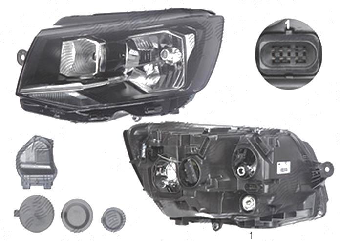 Far Volkswagen Transporter/Multivan (T6), 04.2015-, fata, Stanga, cu daytime running light; H4+P21W+PY21W+W5W; electric; cu motor, DEPO