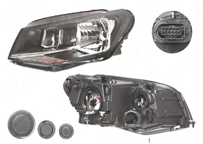 Far Volkswagen Caddy 3 (2k), 06.2015-, fata, Stanga, cu daytime running light; H21W+H4+W21/5W; electric; cu motor, TYC