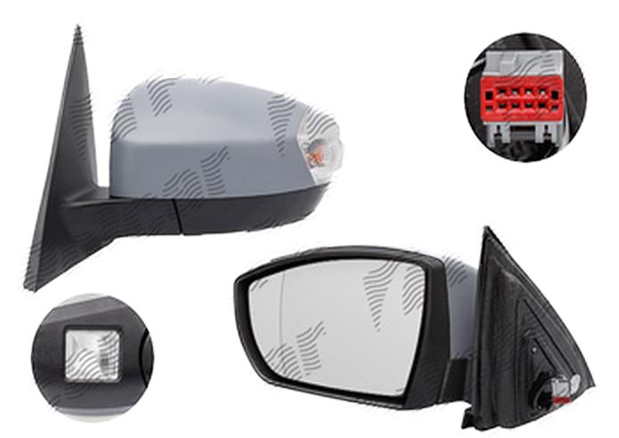 Oglinda exterioara Ford S-Max (Wa6), 05.2006-06.2010, Ford S-Max (Wa6), 06.2010-2012, partea Stanga, culoare sticla crom, sticla convexa, cu carcasa grunduita, cu incalzire, ajustare electrica