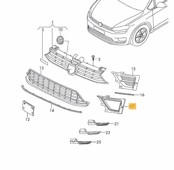 Clema fixare proiector ceata Vw Golf Sportsvan, 02.2014-, Fata, stanga, Aftermarket